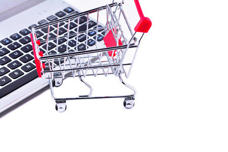Single empty shopping cart isolated on white background Stock Photo