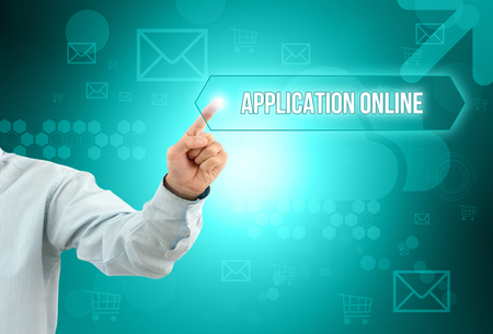 recruit help: Business man touch a button on an imaginary screen with text Stock Photo