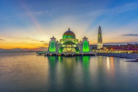Sunset moments at Malacca Straits Mosque ( Masjid Selat Melaka), It is a mosque located on the man-made Malacca Island near Malacca Town, Malaysia