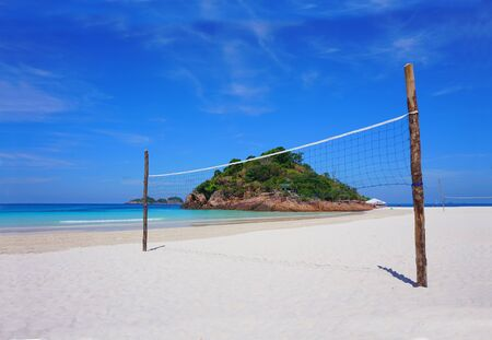 Beach volleyball net on a sunny day at Redang Island, Malaysia