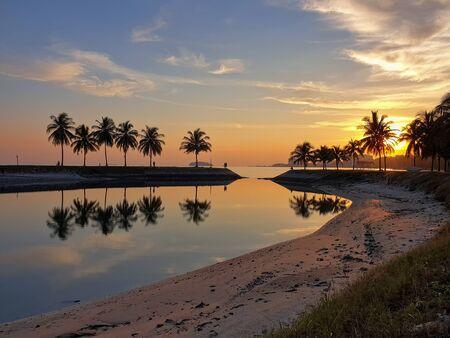 Sunset view at Bagan Pinang Beach, Port Dickson, Negeri Sembilan, Malaysia