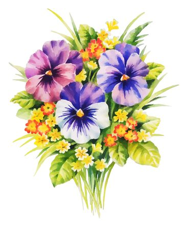 bouquet with violet pansies and yellow primrose watercolor illustration