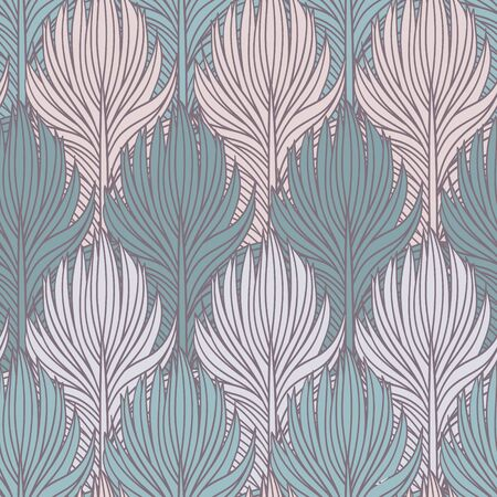 Abstract feather seamless vector pattern. Decorative hand drawn vintage background.