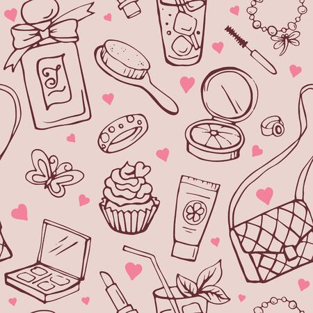 Female beauty and cosmetics accessories. Seamless hand drawn pattern. Fashion and glamour vector objects.