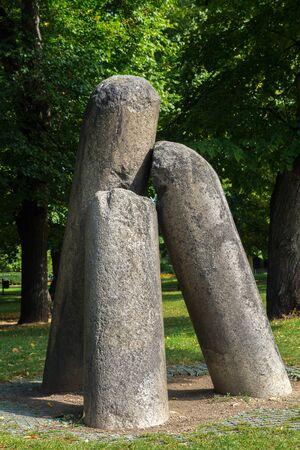 visegrad: Old stone devils column in Vysehrad in Prague