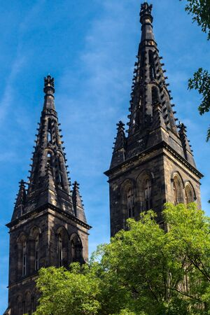 visegrad: Two towers of Saint Peter and Paul Cathedral  in the district of Vysehrad