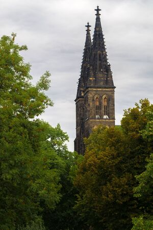 visegrad: Towers of Saint Peter and Paul Cathedral  in the district of Vysehrad