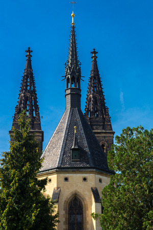 visegrad: Three towers of Saint Peter and Paul Cathedral  in the district of Vysehrad