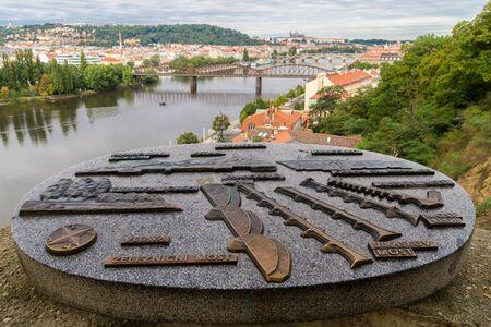 visegrad: view of Prague city and Vltava river from Vysehrad hill