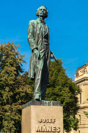 manes: Josef Manes Memorial Statue in Prague Czesh respublik Editorial