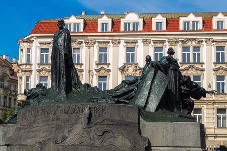 reformation: Jan Hus Memorial on the Old Town Square in Prague, Czech Republi