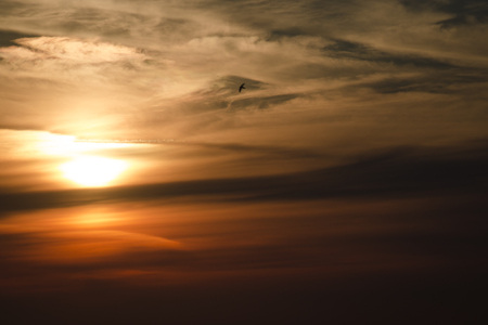 Beautiful cloudy red sunset clouds nature atmosphere Stock Photo