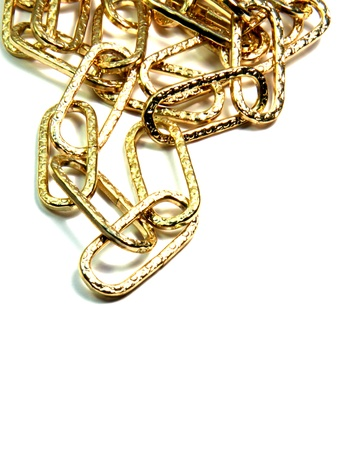 Golden chain are isolated on the white