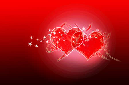 A Valentine card with two bright shining hearts Stock Photo