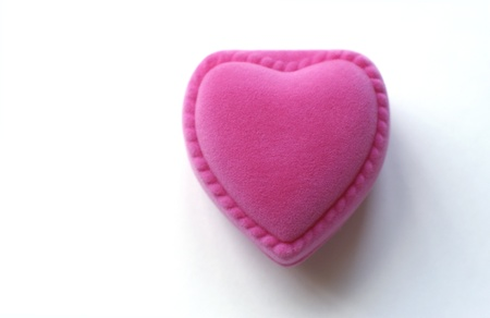 Pink heart-shaped box