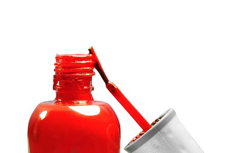 A bottle of red nail polish Isolated on white background