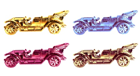 Set of four vintage cars  Stock Photo