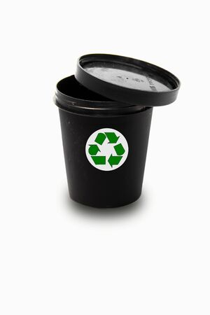 Black pot with recycle sign