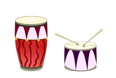 Pair of cute drums  Illustration
