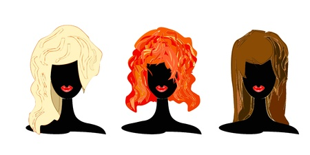 Set of illustrations of women with different hair color over white background Vector