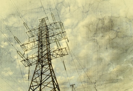 Handmade postcard with electric tower