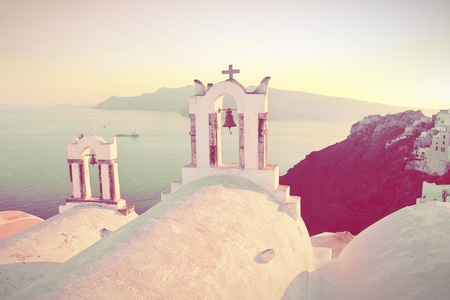 Abstract Santorini church   in retro style
