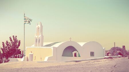 Santorini church  in retro style  photo