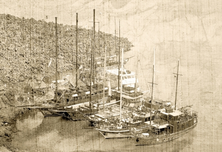 Vintage postcard with the boats photo