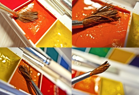 Brush close up collage