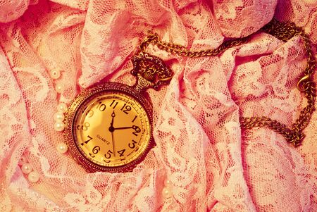 Vintage background with a pocket watch photo