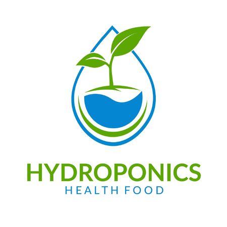 Hydroponics template, health food icon design - vector