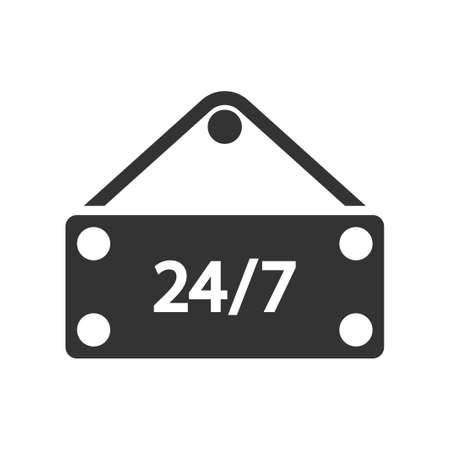 24 hours open shop icon, vector image