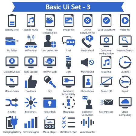 Basic Ui Icon set 3 - Blue series