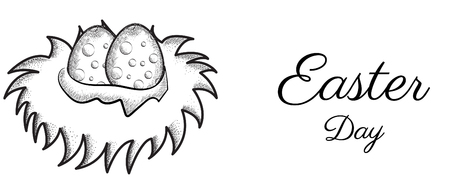 Easter day vector design with easter egg on nest. hand draw vector   design of nest.