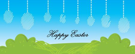 Happy easter banner design and illustration on landscape view. Vectores