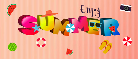 3D enjoy summer design with small party elements design on beach style.vector illustration.