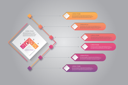 six steps infographic illustration design. vector illustration.