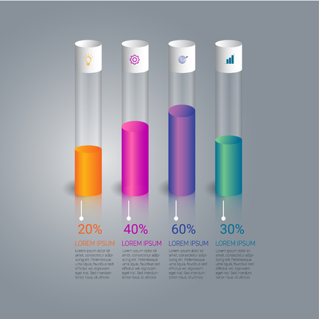 Test tube concept on business growth infographic vector design. Illustration