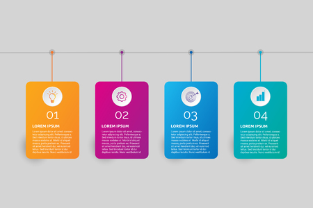4 steps tag shape business and corporate sector infographic design and illustration.