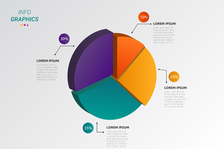 Pie shape infographic vector design and illustration. Illustration