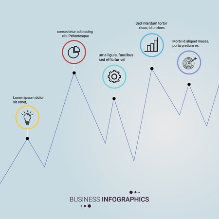 Business graph style infographic vector design illustration.