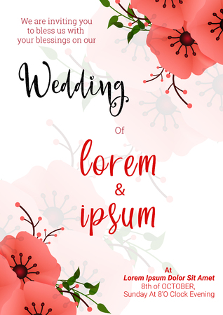 Wedding floral invitation card design vector illustration.