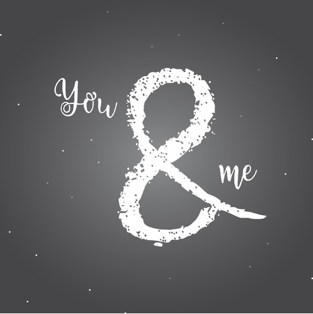 You and me vector template design and illustration on dark background. Illustration