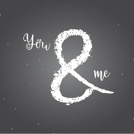 You and me vector template design and illustration on dark background. Illusztráció