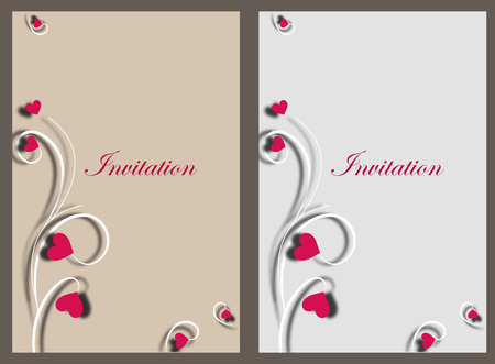 Invitation card template design with heart sahape design. background design for invitation.
