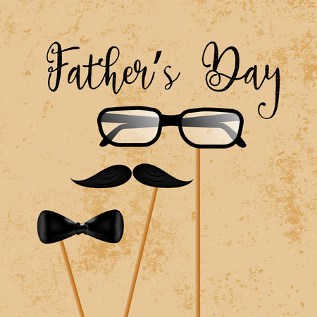 happy fathers day template design and illustration with glasses, necktie and mustache design. Illusztráció