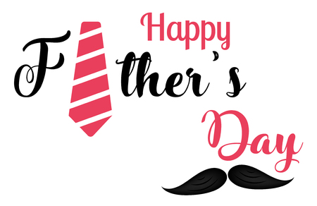 Happy fathers day template, card and poster design illustration with necktie and mustache.