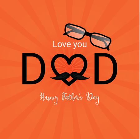Love you dad, Happy fathers day template and poster design illustration.