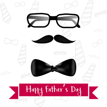 Fathers day template , poster and card design illustration with glasses, mustache and necktie Illustration