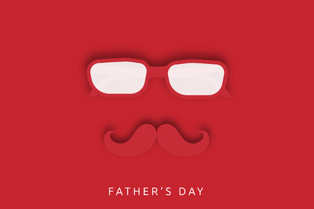 Fathers day template with glasses and mustache. vector design.